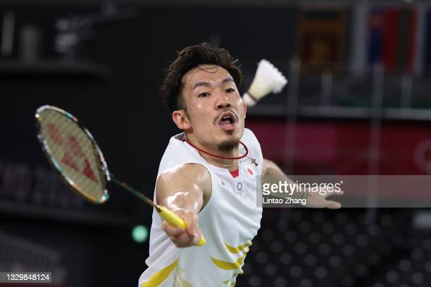 Keigo Sonoda of Team Japan in action during Badminton training at Musashino Forest Sport Plaza ahead of the Tokyo 2020 Olympic Games on July 21, 2021...