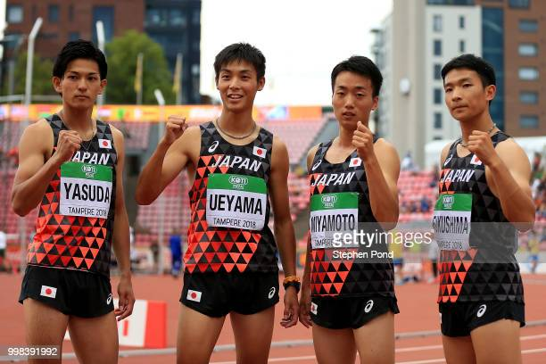 Keigo Yasuda Koki Ueyama Daisuke Miyamoto and Satoru Fukushima of Japan pose for a picture ahead of heat 3 of the men's 4x100m relay on day four of...