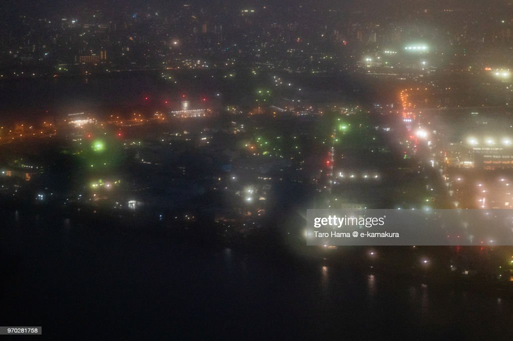 Keihin Island in Tokyo Bay night time aerial view from airplane : ストックフォト