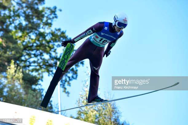 Keiichi Sato of Japan competes during the FIS Grand Prix Skijumping Hinzenbach at on February 6, 2021 in Eferding, Austria.