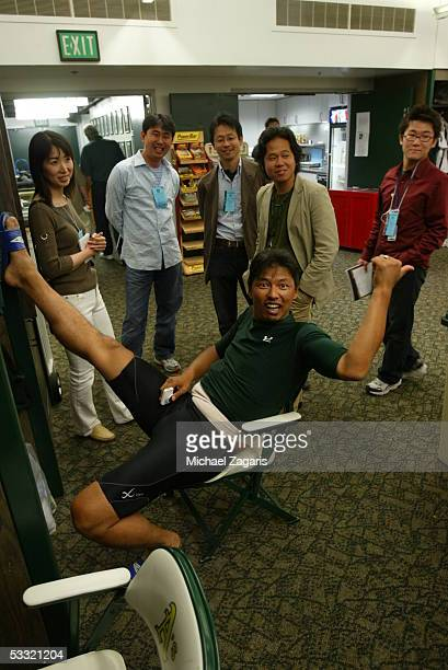 Keiichi Yabu of the Oakland Athletics in the clubhouse before the game against the Seattle Mariners at McAfee Coliseum on June 30 2005 in Oakland...
