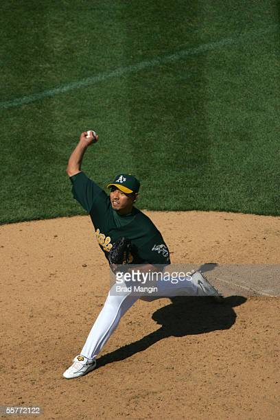 Keiichi Yabu of the Oakland Athletics pitches during the game against the Minnestoa Twins at McAfee Coliseum on September 21 2005 in Oakland...