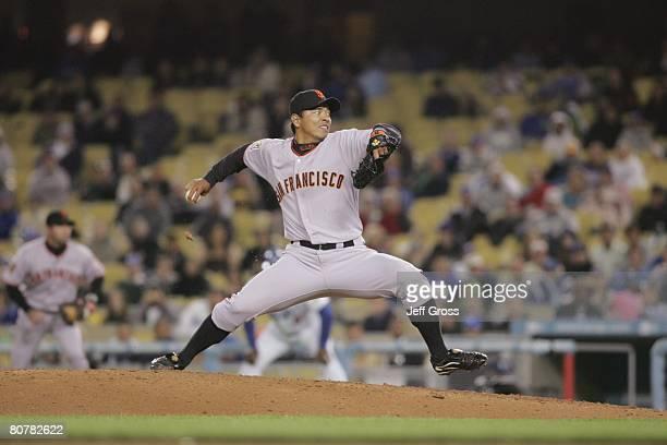 Keiichi Yabu of the San Francisco Giants delivers a pitch during the game against of the Los Angeles Dodgers at Dodger Stadium on April 1 2008 in Los...