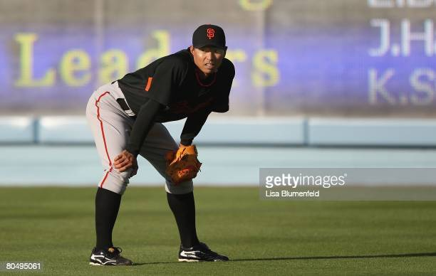 Keiichi Yabu of the San Francisco Giants looks on before the game against the Los Angeles Dodgers at Dodger Stadium on April 1 2008 in Los Angeles...