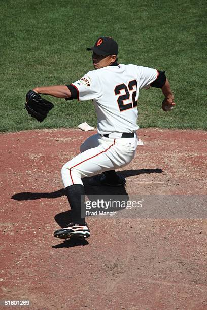 Keiichi Yabu of the San Francisco Giants pitches during the game against the Oakland Athletics at ATT Park in San Francisco California on June 15...