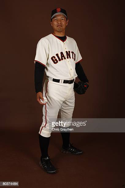 Keiichi Yabu of the San Francisco Giants poses for a photo during Spring Training Photo Day at Scottsdale Stadium in Scottsdale Arizona