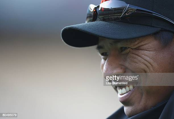 Keiichi Yabu of the San Francisco Giants smiles before the game against the Los Angeles Dodgers at Dodger Stadium on April 1 2008 in Los Angeles...