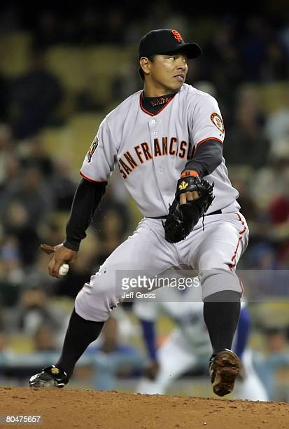 Keiichi Yabu of the San Francisco Giants throws a pitch against the Los Angeles Dodgers in the ninth inning at Dodger Stadium on April 1 2008 in Los...