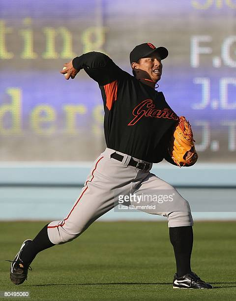 Keiichi Yabu of the San Francisco Giants warms up before the game against the Los Angeles Dodgers at Dodger Stadium on April 1 2008 in Los Angeles...