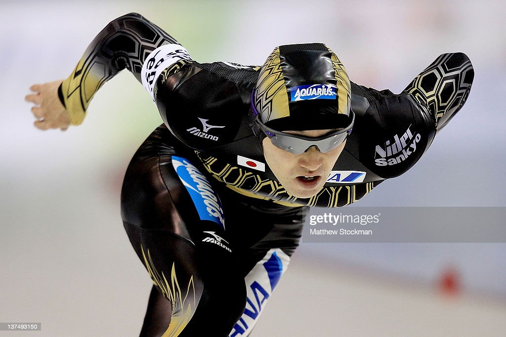 Keiichiro Nagashima of Japan competes in the 500 meter during the Essent ISU World Cup Speed Skating at the Utah Olympic Oval on January 21, 2012 in Salt Lake City, Utah. Nagashima won the 500 meter event.