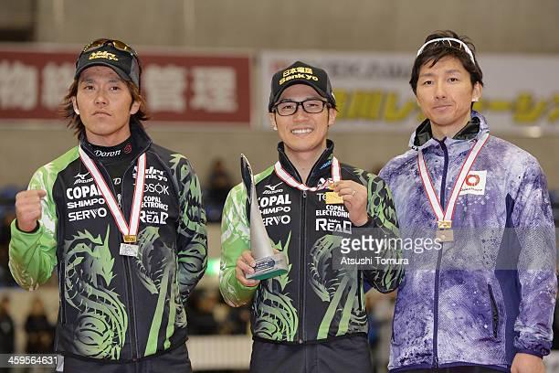 Keiichiro Nagashima of Japan poses with the silver medal Joji Kato of Japan poses with the gold medal and Yuya Oikawa of Japan poses with the bronze...