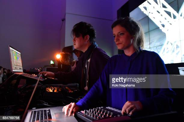 Keiichiro Shibuya and Justine Emard perferm during Special Session at Roppongi Hills MAT LAB Mori Tower 52F TOKYO CITY VIEW on February 11 2017 in...