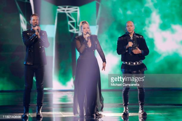 KEiiNO representing Norway performs live on stage during the 64th annual Eurovision Song Contest held at Tel Aviv Fairgrounds on May 18 2019 in Tel...