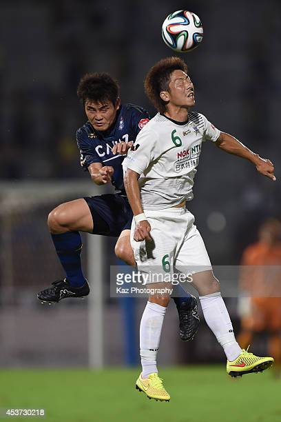 Keiji Takachi of FC Gifu wins the header during the J League 2nd division match between Thespakusatsu Gunma and FC Gifu at Shoda Shoyu Stadium Gunma...