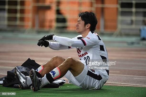 Keiji Tamada of Cerezo Osaka looks dejected after missing our on promotion to J1 during the JLeague 2 2015 Promotional PLayoff Final match between...