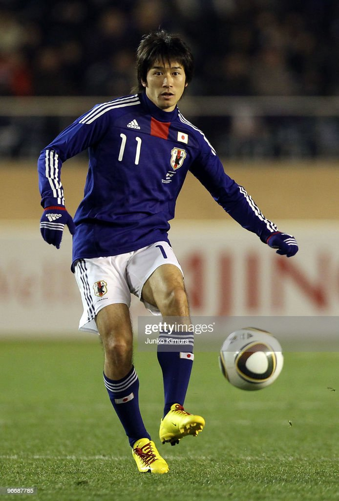 Keiji Tamada of Japan in action during the East Asian Football Championship 2010 match between Japan and South Korea at the National Stadium on February 14, 2010 in Tokyo, Japan.