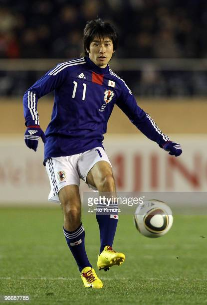 Keiji Tamada of Japan in action during the East Asian Football Championship 2010 match between Japan and South Korea at the National Stadium on...