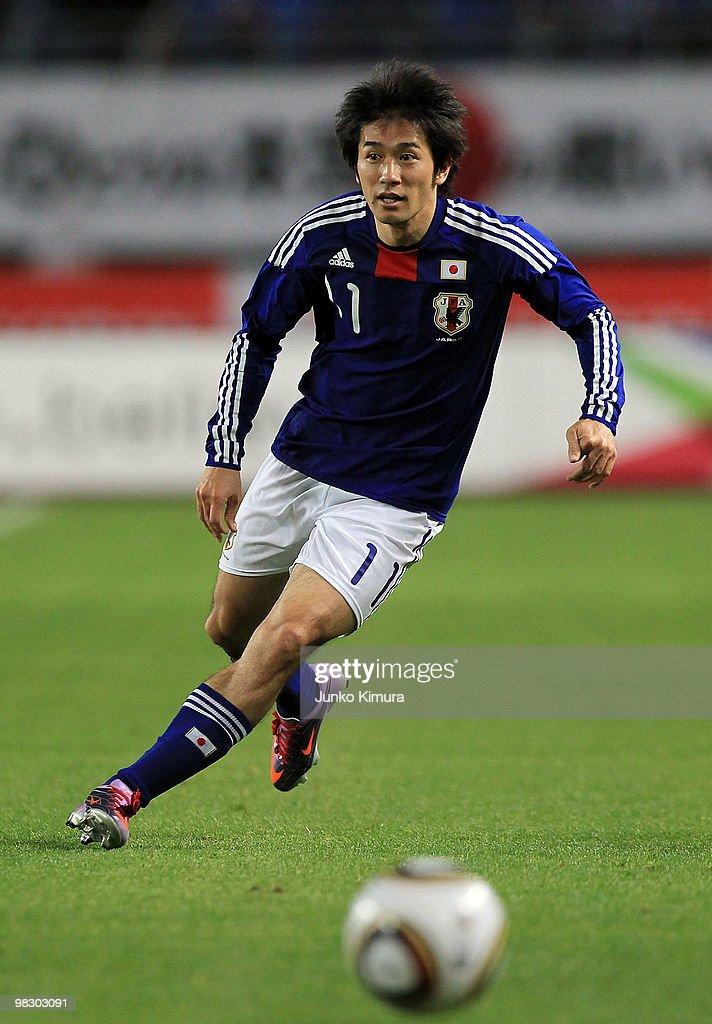Keiji Tamada of Japan in action during the Kirin Challenge Cup match between Japan and Serbia at Nagai Stadium on April 7, 2010 in Osaka, Japan.
