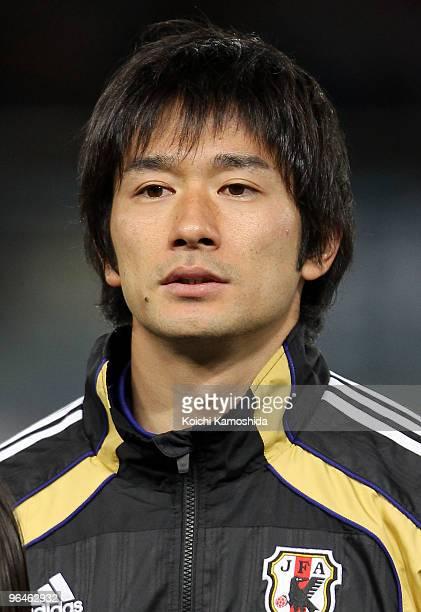 Keiji Tamada of Japan looks on prior to playing the East Asian Football Championship 2010 match between Japan and China at Ajinomoto Stadium on...