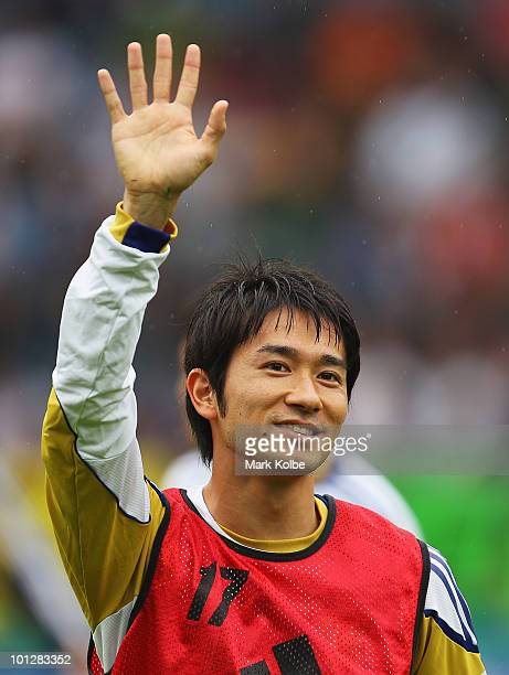 Keiji Tamada of Japan waves to the crowd before the International Friendly between Japan and England at UPC-Arena on May 30, 2010 in Graz, Austria.