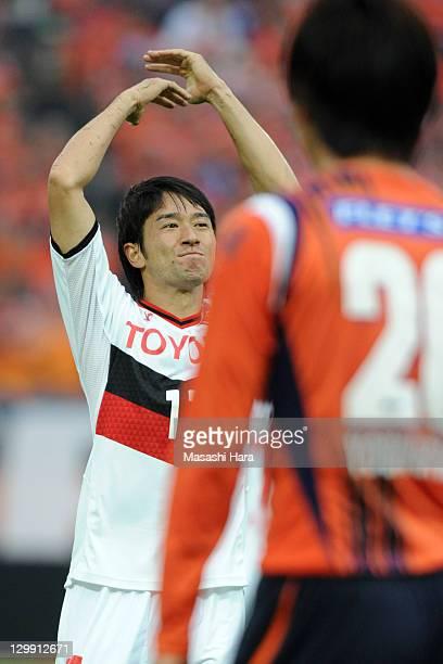 Keiji Tamada of Nagoya Grampus celebrates the second goal during the J.League match between Omiya Ardija and Nagoya Grampus at Nack 5 Stadium Omiya...