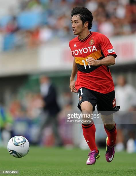 Keiji Tamada of Nagoya Grampus in action during the JLeague match between Jubilo Iwata and Nagoya Grampus at Yamaha Stadium on June 11 2011 in Iwata...