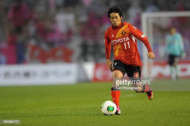 Keiji Tamada of Nagoya Grampus in action during the J.League Yamazaki Nabisco Cup match between Nagoya Grampus and Cerezo Osaka at Mizuho Stadium on...