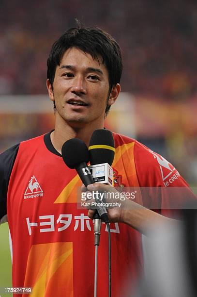Keiji Tamada of Nagoya Grampus is interviewed after the J.League match between Nagoya Grampus and Urawa Red Diamonds at Toyota Stadium on August 10,...