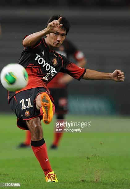 Keiji Tamada of Nagoya Grampus takes free kick during the JLeague match between Nagoya Grampus and Kashima Antlers at Toyota Stadium on July 31 2013...