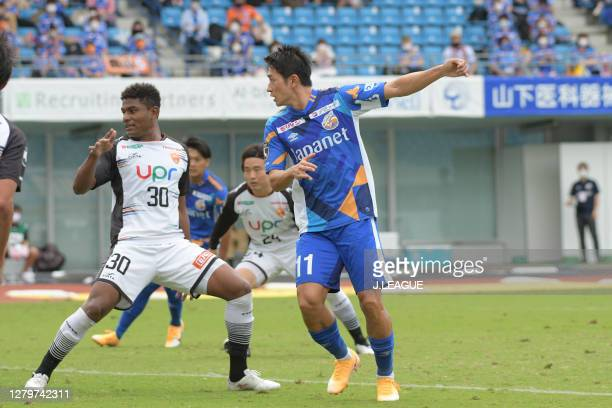 Keiji TAMADA of V-Varen Nagasaki scores his side's third goal during the J.League Meiji Yasuda J2 match between V-Varen Nagasaki and Renofa Yamaguchi...
