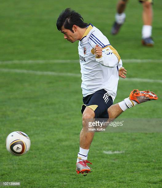 Keiji Tamada shoots at goal at a Japan training session during the FIFA 2010 World Cup at Outeniqua Stadium on June 16 2010 in George South Africa
