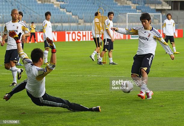 Keiji Tamada shoots at goal during a Japan training session at UPC-Arena on May 29, 2010 in Graz, Austria.
