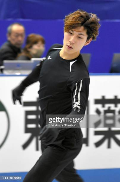 Keiji Tanaka of Japan in action during a practice session ahead of the ISU Team Trophy at Marine Messe Fukuoka on April 10 2019 in Fukuoka Japan
