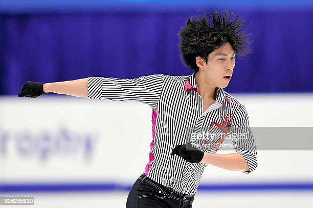 Keiji Tanaka of Japan in action during a practice session prior to competing in Men's Singles free skating during day two of the ISU Grand Prix of...