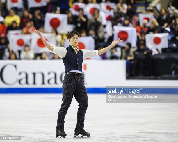Keiji Tanaka of Japan performs in the men's free skating, placing third with a score of 169.91 during the ISU Grand Prix of Figure Skating Canada at...