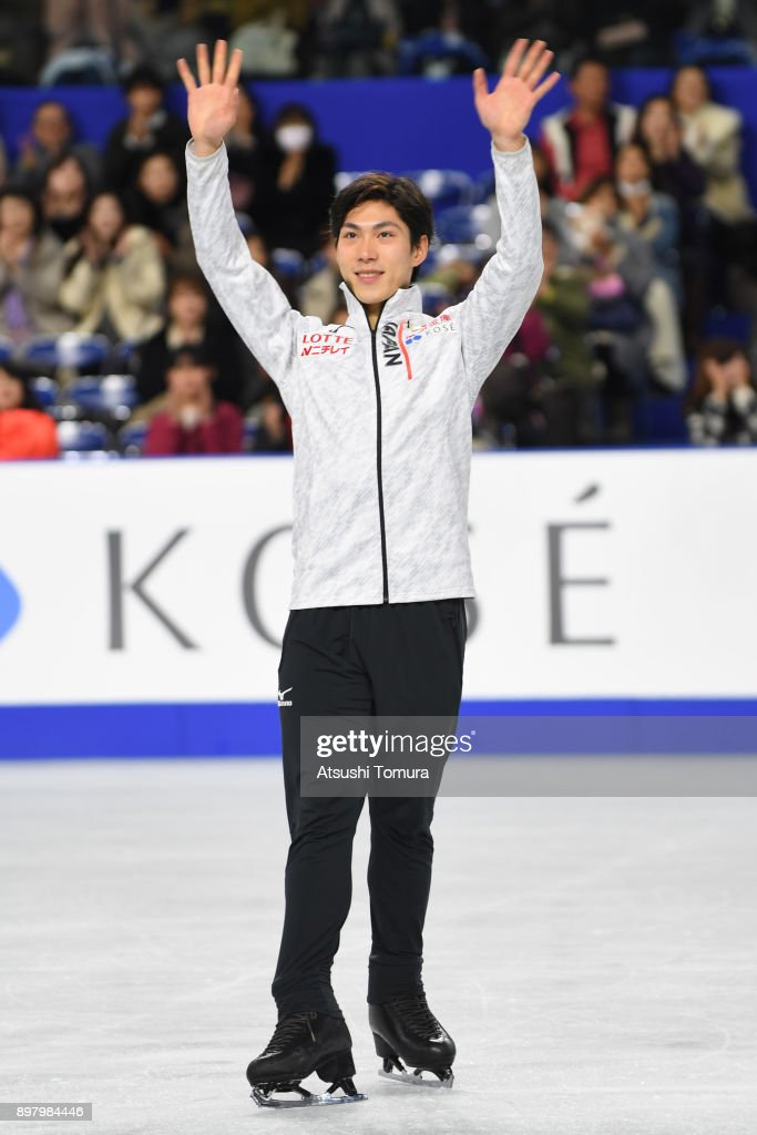 Keiji Tanaka of Japan smiles during day four of the 86th All Japan Figure Skating Championships at the Musashino Forest Sports Plaza on December 24, 2017 in Chofu, Tokyo, Japan.