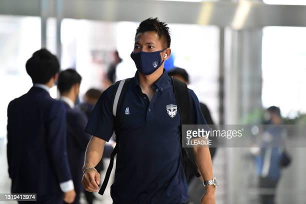 Keijiro OGAWA of Yokohama FC is seen on arrival at the stadium prior to the J.League Meiji Yasuda J1 match between Kawasaki Frontale and Yokohama FC...