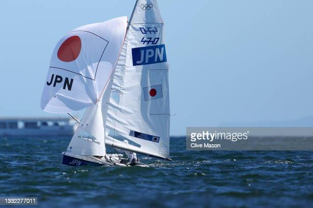 Keiju Okada and Jumpei Hokazono of Team Japan compete in the Men's 470 class medal race on day twelve of the Tokyo 2020 Olympic Games at Enoshima...