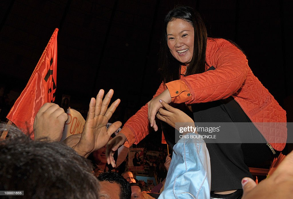 Keiko Fujimori, daughter of imprisoned former Peruvian president Alberto Fujimori, presents her party �Fuerza 2011� (Strength 2011) to an audience of several thousand followers at a coliseum in Lima on May 19, 2010. Keiko Fujimori, now a Congresswoman running in her father�s political wake, was once Peru�s acting First Lady, who hopes to see her party succeeed in this year�s nationwide mayoral elections and to win the following year�s presidential race.