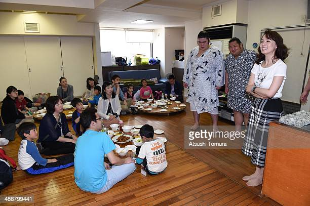 Keiko Hanada speaks to the participant during the Sumo class by former yokozuna Takanohana at the Takanohana Beya on April 26 2014 in Tokyo Japan