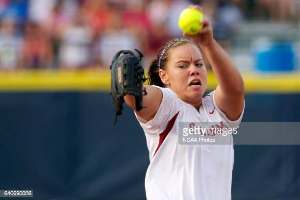 Keilani Ricketts of the University of Oklahoma pitches against the University of Alabama during the Division I Women's Softball Championship held at...