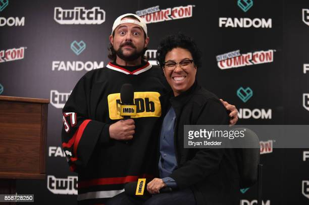 Kein Smith and Angela Robinson writerdirector of Professor Marston and the Wonder Woman speak onstage during IMDb LIVE at NY ComicCon at Javits...