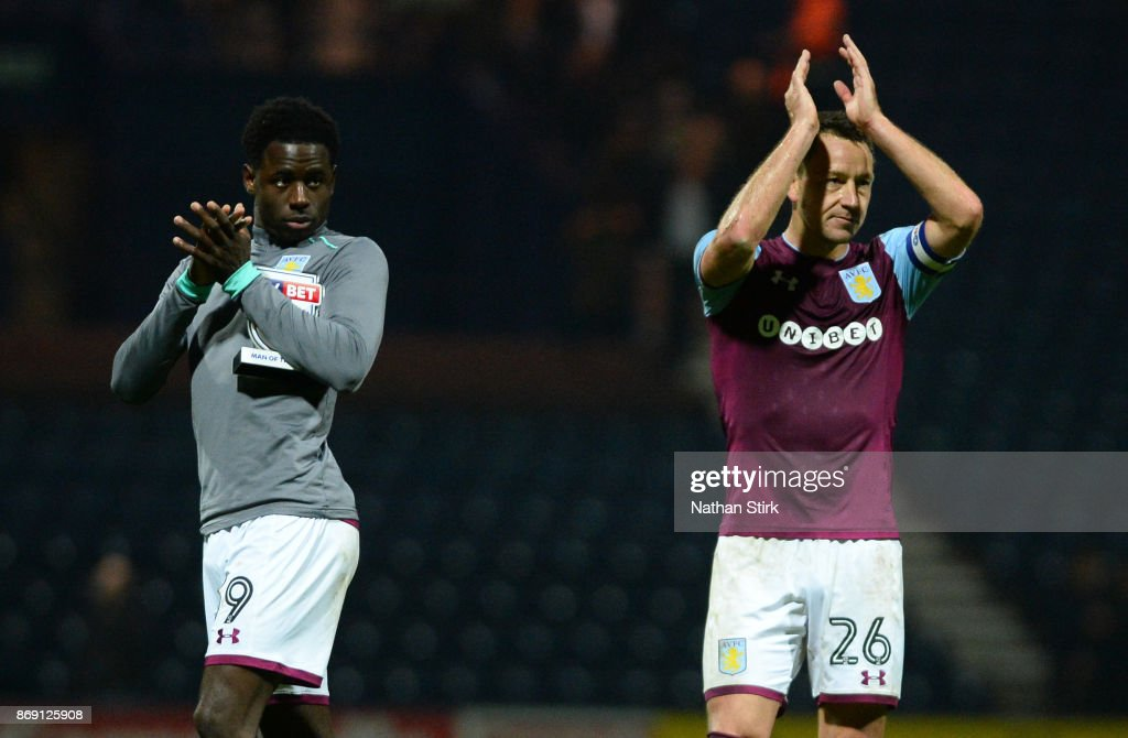 Keinan Davis and John Terry of Aston Villa applaud the fans after the Sky Bet Championship match between Preston North End and Aston Villa at Deepdale on November 1, 2017 in Preston, England.