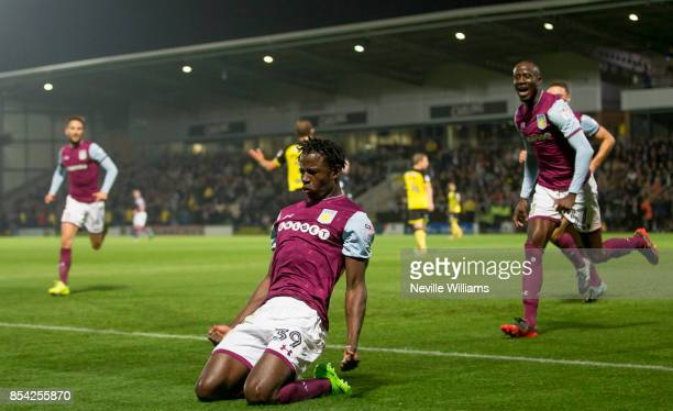 Keinan Davis of Aston Villa celebrates scoring the opening goal during the Sky Bet Championship match between Burton Albion and Aston Villa at the...