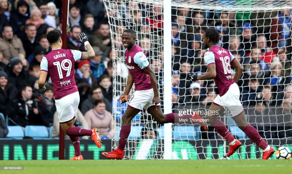 Keinan Davis (C) of Aston Villa celebrates scoring the opening goal during the The Emirates FA Cup Third Round match between Aston Villa and Peterborough United at Villa Park on January 6, 2018 in Birmingham, England.