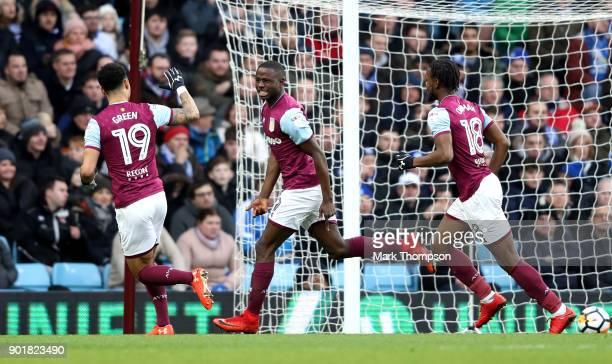 Keinan Davis of Aston Villa celebrates scoring the opening goal during the The Emirates FA Cup Third Round match between Aston Villa and Peterborough...