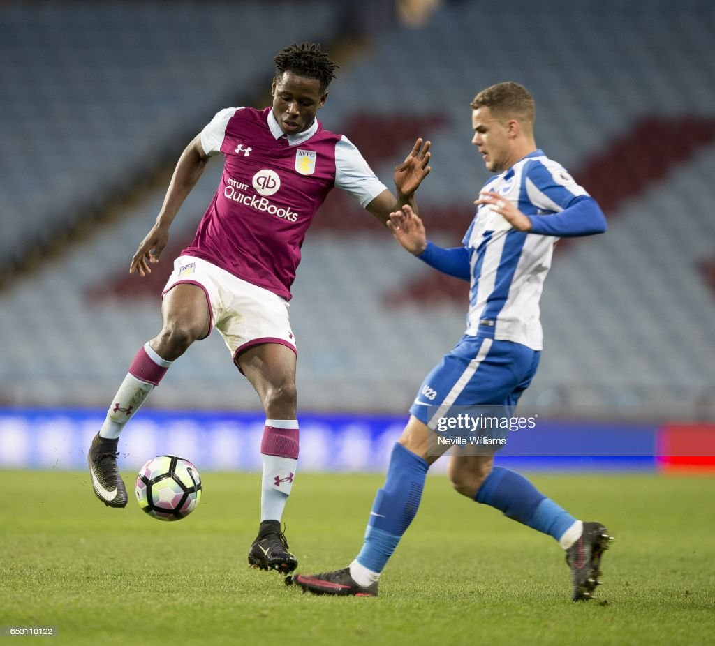 Keinan Davis of Aston Villa during the Premier League 2 match between Aston Villa and Brighton & Hove Albion at Villa Park on March 13, 2017 in Birmingham, England.