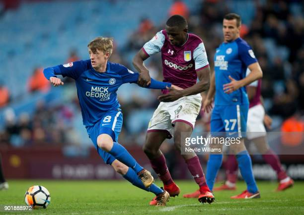 Keinan Davis of Aston Villa during the The Emirates FA Cup Third Round match between Aston Villa and Peterborough United at Villa Park on January 06...