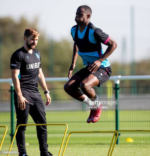 Keinan Davis of Aston Villa in action during a training session at the club's training ground at Bodymoor Heath on September 25 2018 in Birmingham...