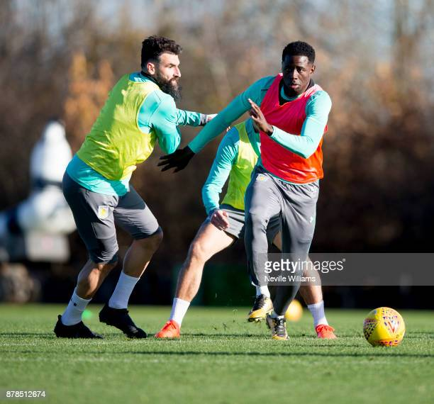 Keinan Davis of Aston Villa in action during a training session at the club's training ground at Bodymoor Heath on November 24 2017 in Birmingham...